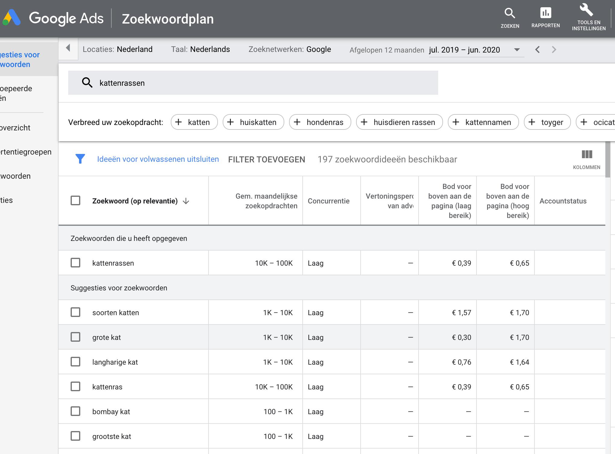Overzicht zoekwoorden - Google Ads