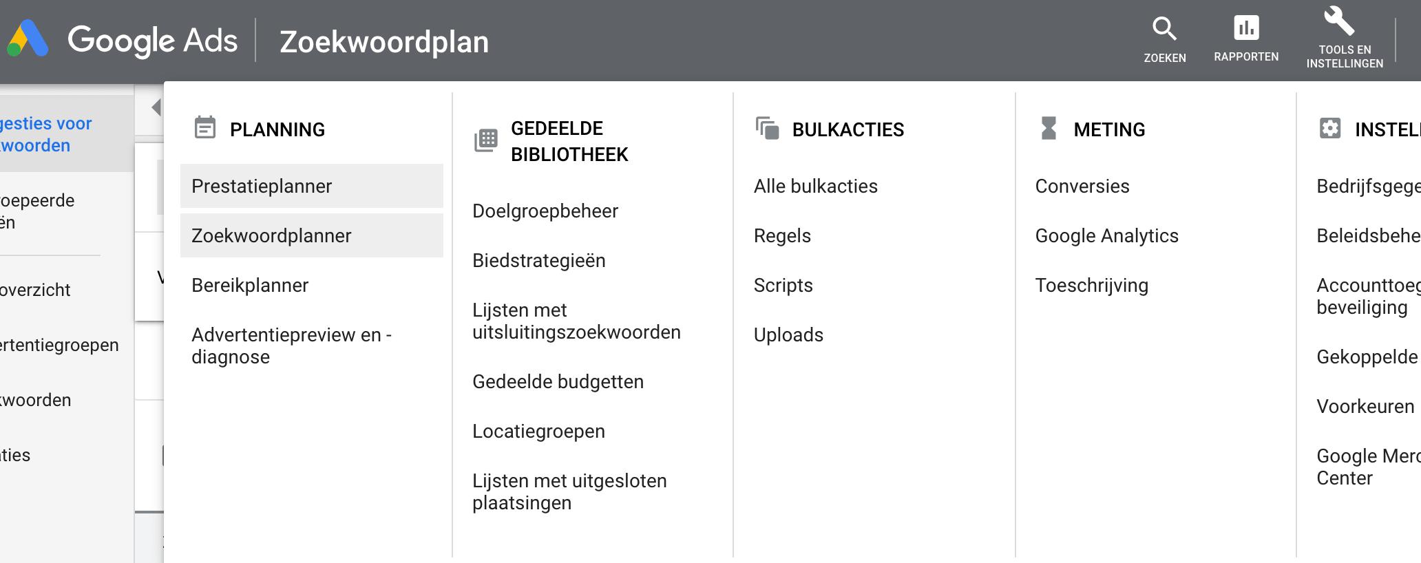 Zoekwoordplanner Google Ads